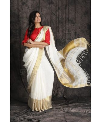 Red And White Collection Linen Saree With Red Blouse Piece