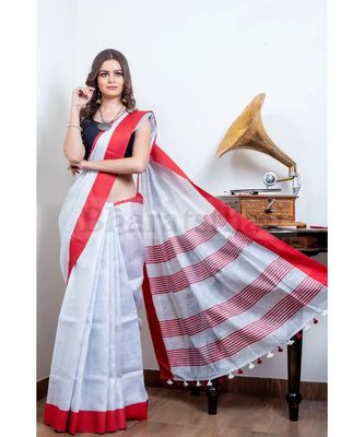 Red And White Collection Tissue Linen Saree With Red Blouse Piece