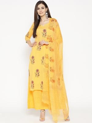 Yellow Handblock Print Palazzo Suit Set