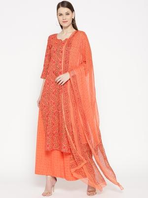 Orange Handblock Print Palazzo Suit Set
