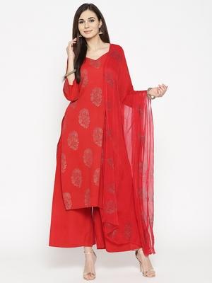 Red Golden Handblock Print Palazzo Suit Set