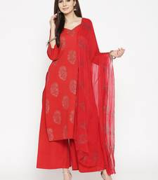 Red Golden Handblock Print Palazzo Suit Set