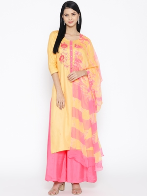 Yellow Gaji Silk Handwork Suit
