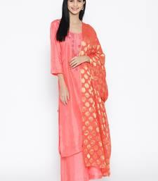 Peach Opada Silk Handwork Banarasi Dupatta Suit