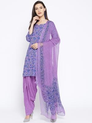 Purple Handblock Print Patiala Suit Set