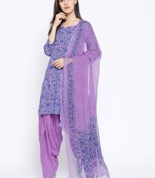 Purple Handblock Print Patiala Suit Set