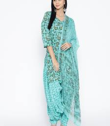 Turquoise Handblock Print Patiala Suit Set