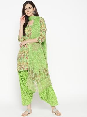 Green Handblock Print Patiala Suit Set