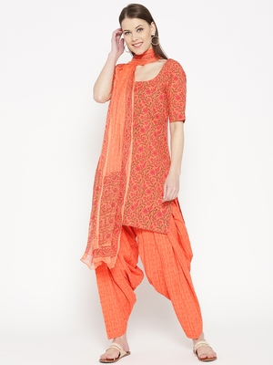 Orange Handblock Print Patiala Suit Set