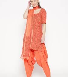 Orange Handblock Print Patiala Suit Set