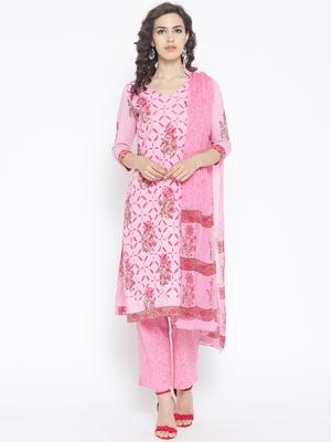 Baby Pink Applique Work Block Butta Print Suit