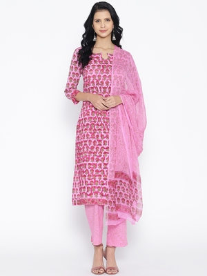 Baby Pink Applique Work Block Butti Print Suit