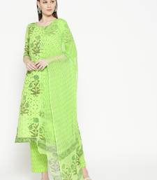 Lime Green Applique Work Mugal Block Butta Print Suit