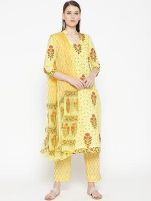Lemon Applique Work Mugal Block Butta Print Suit