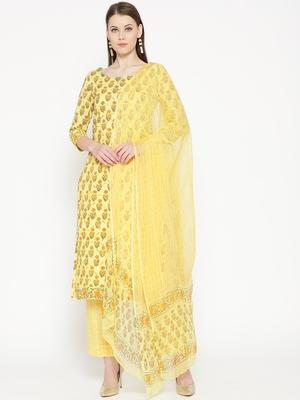 Lemon Applique Work Block Butti Print Suit