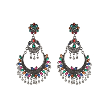 Oxidized Indian Bollywood Silver Earring