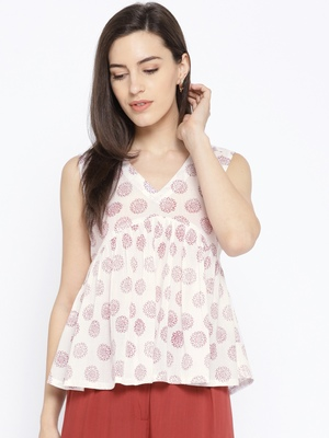 White Printed Frill Top