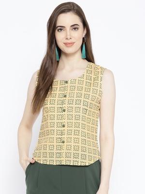 Green Square Print Crop Top