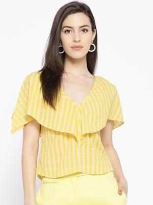 Yellow Zik-zak Print Crop Top