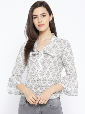 Grey Block Butti Print Shirt