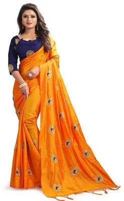 Orange paper silk embroidered saree with unstitched blouse