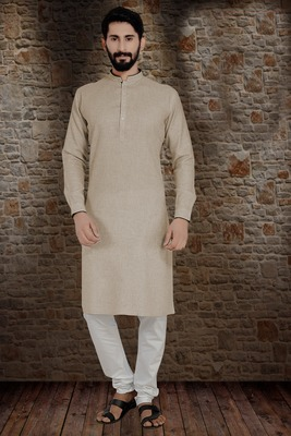 Brown Stylish And  Fancy Lucknowi Embroidery Kurta Pyjama