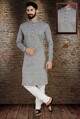 Grey Stylish And  Fancy Lucknowi Embroidery Kurta Pyjama