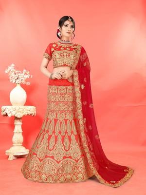 Women's Heavy Zari Embroidered Red Silk Semi-Stitched Lehenga and unstitched Choli with Dupatta