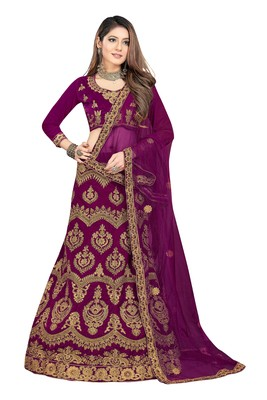 purple embroidered velvet semi stitched lehenga choli