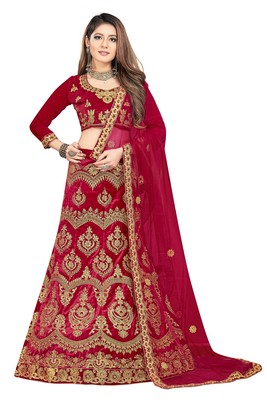red embroidered velvet semi stitched lehenga choli