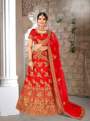 red embroidered silk blend semi stitched lehenga choli