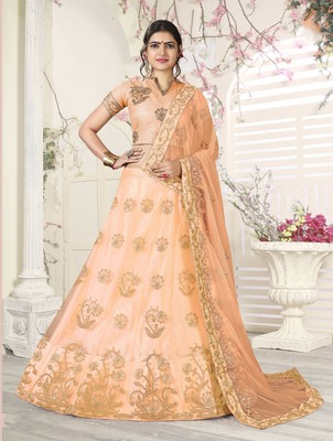 peach embroidered net semi stitched lehenga choli