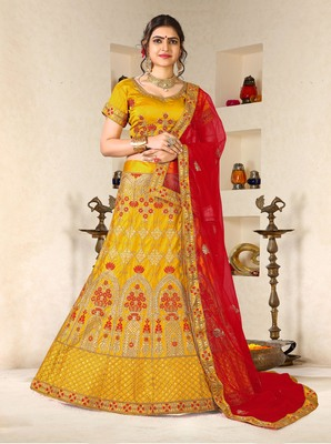yellow embroidered silk blend semi stitched lehenga choli