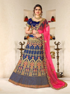 blue embroidered silk blend semi stitched lehenga choli