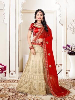 beige embroidered silk blend semi stitched lehenga choli