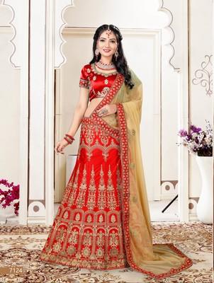 red embroidered silk blend semi stitched lehenga choli
