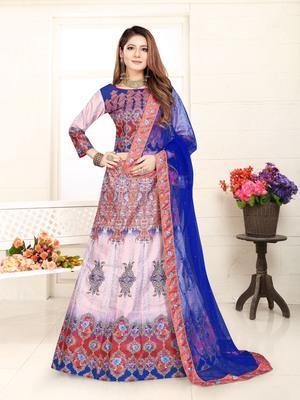 multicolor embroidered silk blend semi stitched lehenga choli