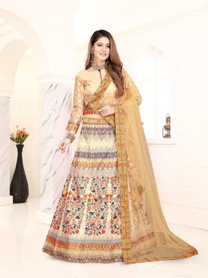 multicolor embroidered silk blend semi stitched lehenga choli