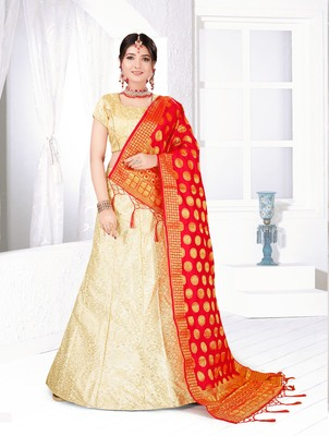 beige embroidered silk blend semi stitched lehenga choli