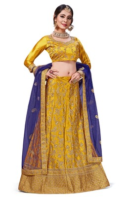 Yellow Embroidered Silk Blend Semi Stitched Lehenga Choli