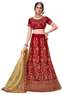 Maroon Embroidered Silk Blend Semi Stitched Lehenga Choli