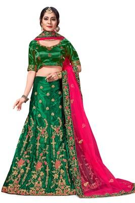 green embroidered silk blend semi stitched lehenga choli