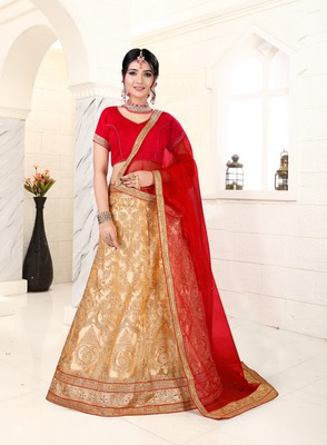 beige embroidered net semi stitched lehenga choli