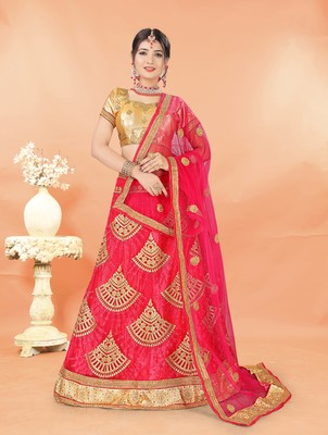 pink embroidered net semi stitched lehenga choli