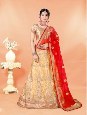 beige embroidered net semi stitched lehenga choli