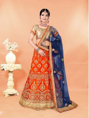 orange embroidered net semi stitched lehenga choli