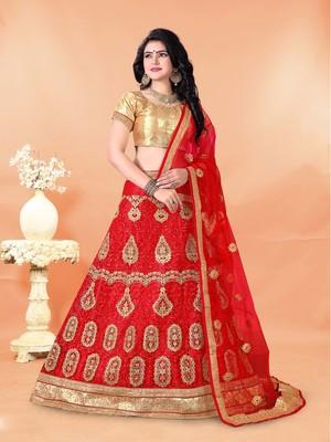 red embroidered net semi stitched lehenga choli