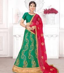green embroidered net semi stitched lehenga choli