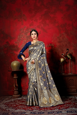 Dark navy blue woven silk blend saree with blouse
