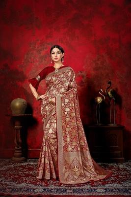 Dark maroon woven silk blend saree with blouse